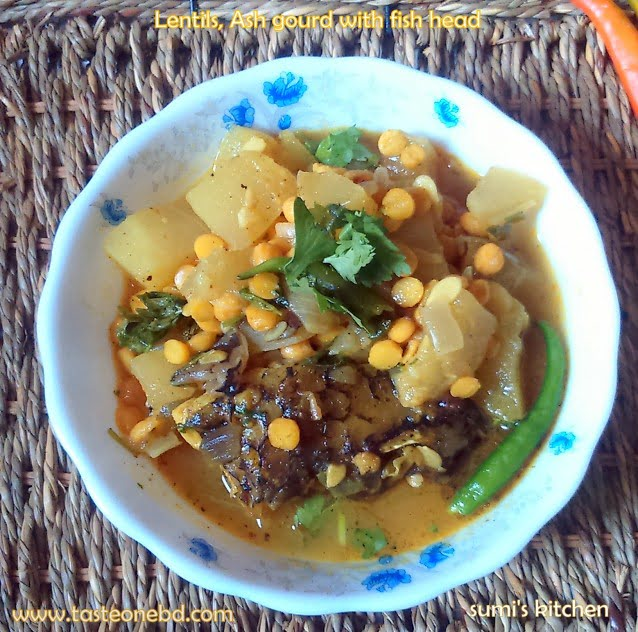 Lentils, Ash gourd with fish head(macher matha dia dal chalkumro)